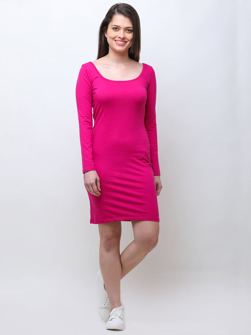 pink solid dress
