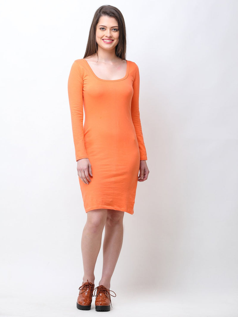 Orange solid dress