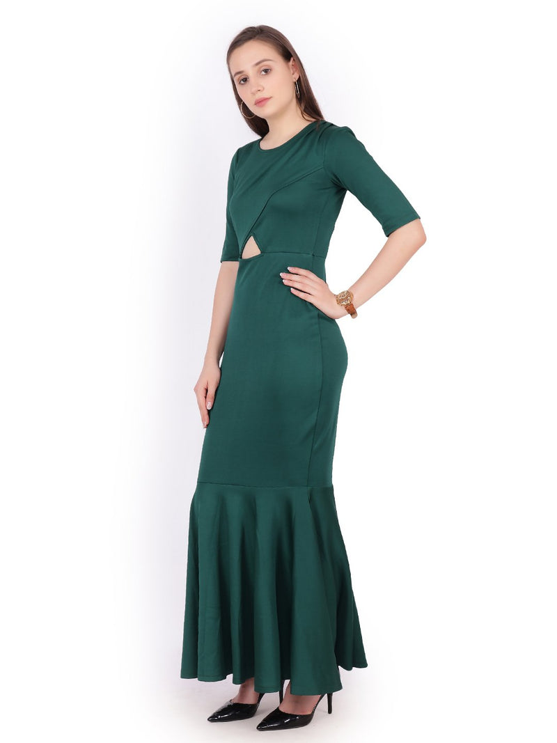 Solid Dark Green Dress