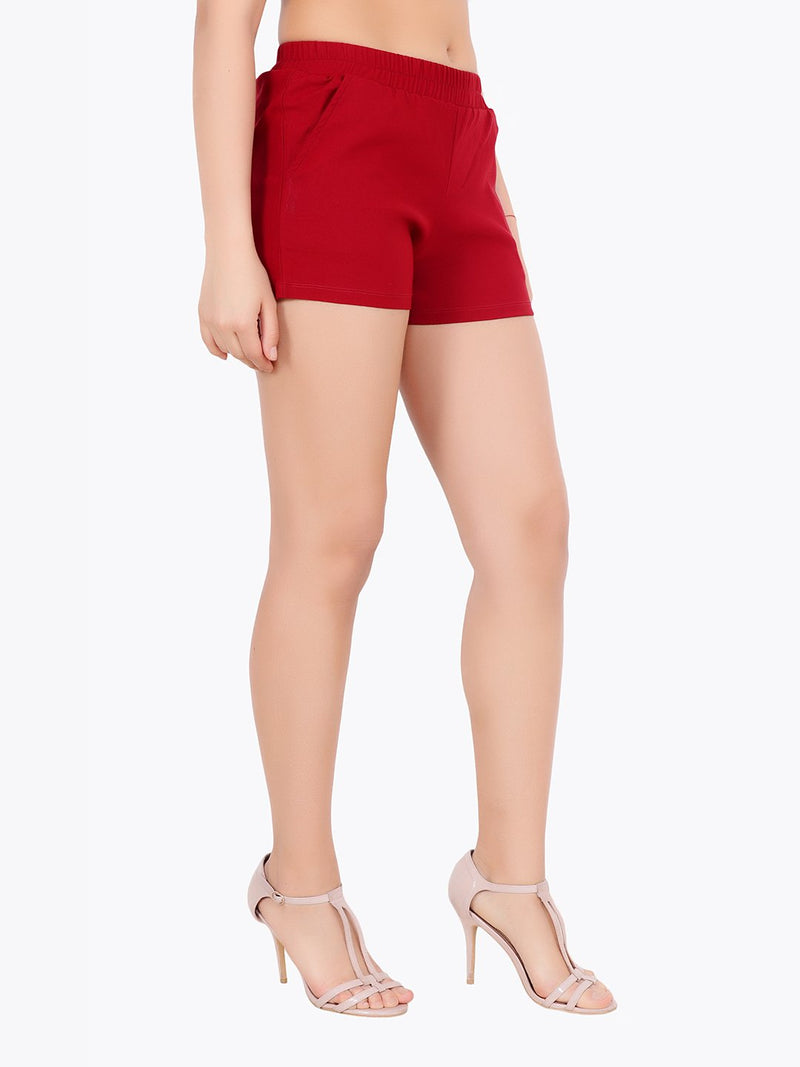 Maroon Solid Shorts