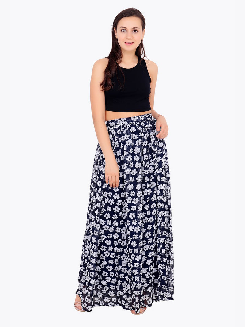 Navy Printed Skirt