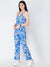 SCORPIUS BLUE AND WHITE PRINTED JUMPSUIT