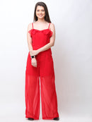 Red Solid Jumpsuit