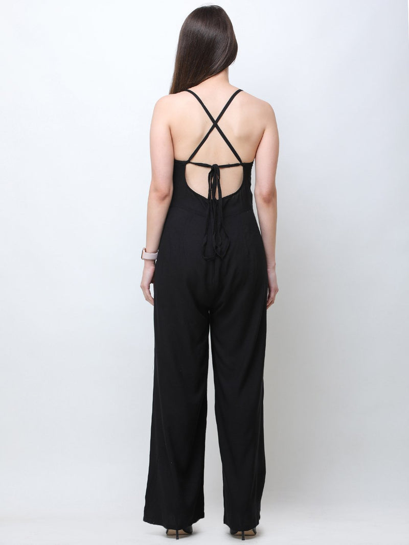 Black  Solid Jumpsuit