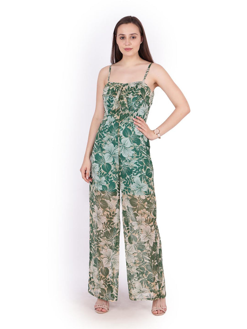 Green Printed Jumpsuit