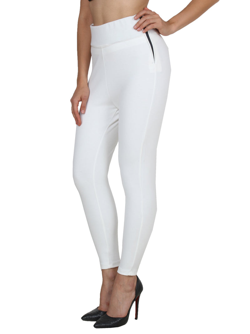 White Solid Jeggings