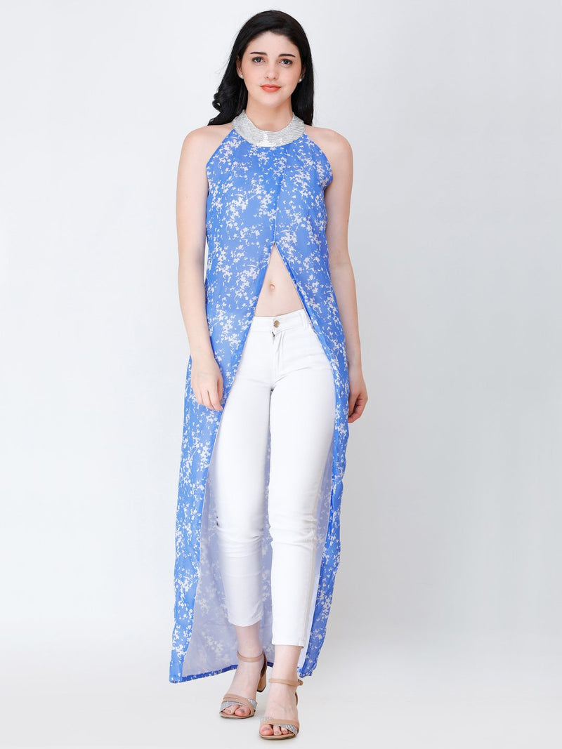SCORPIUS printed front slit long top