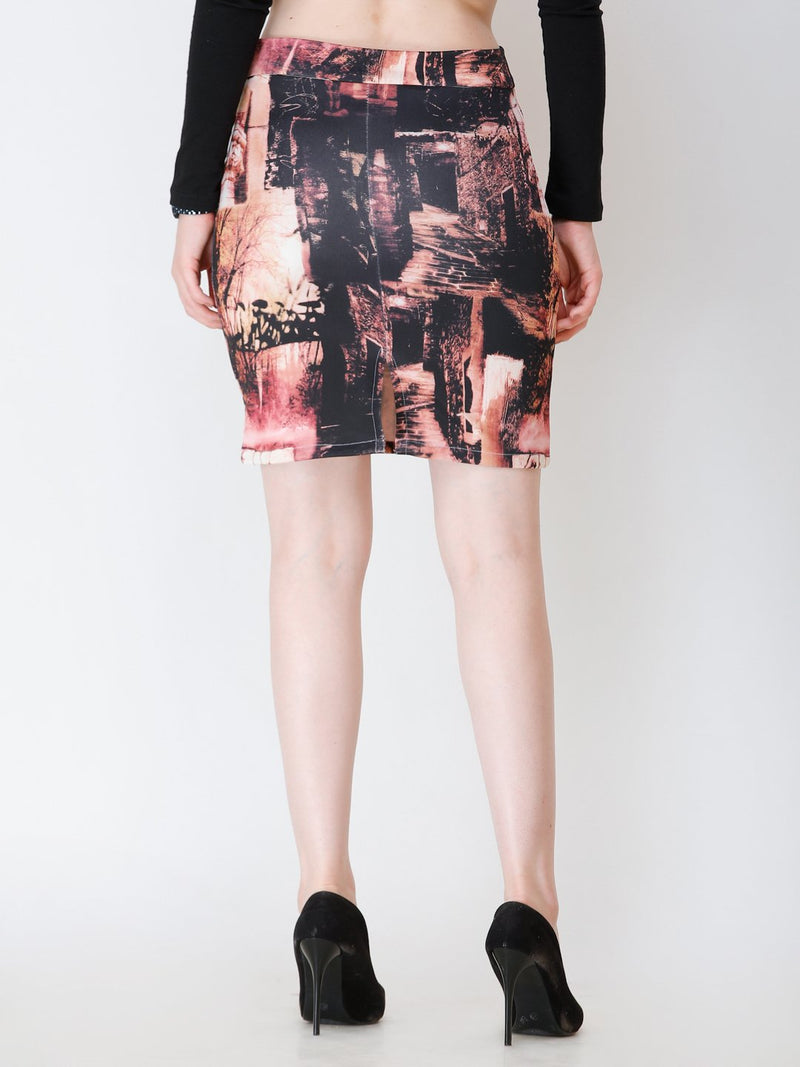 SCORPIUS multi-colour pencil skirt with back slit