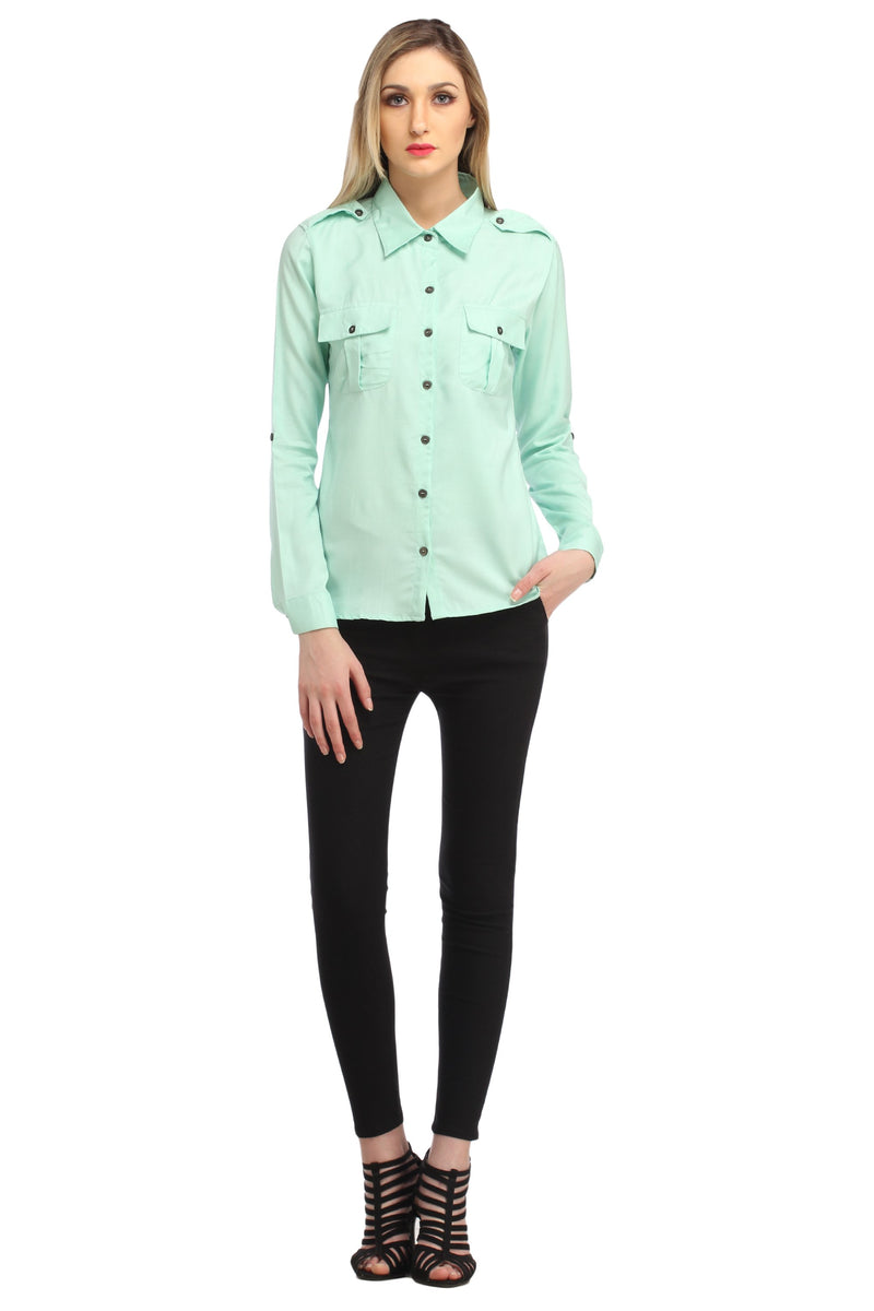 Green Solid Shirt