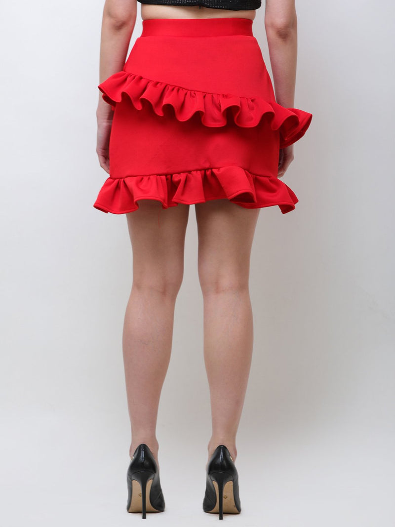 Red Solid Skirt