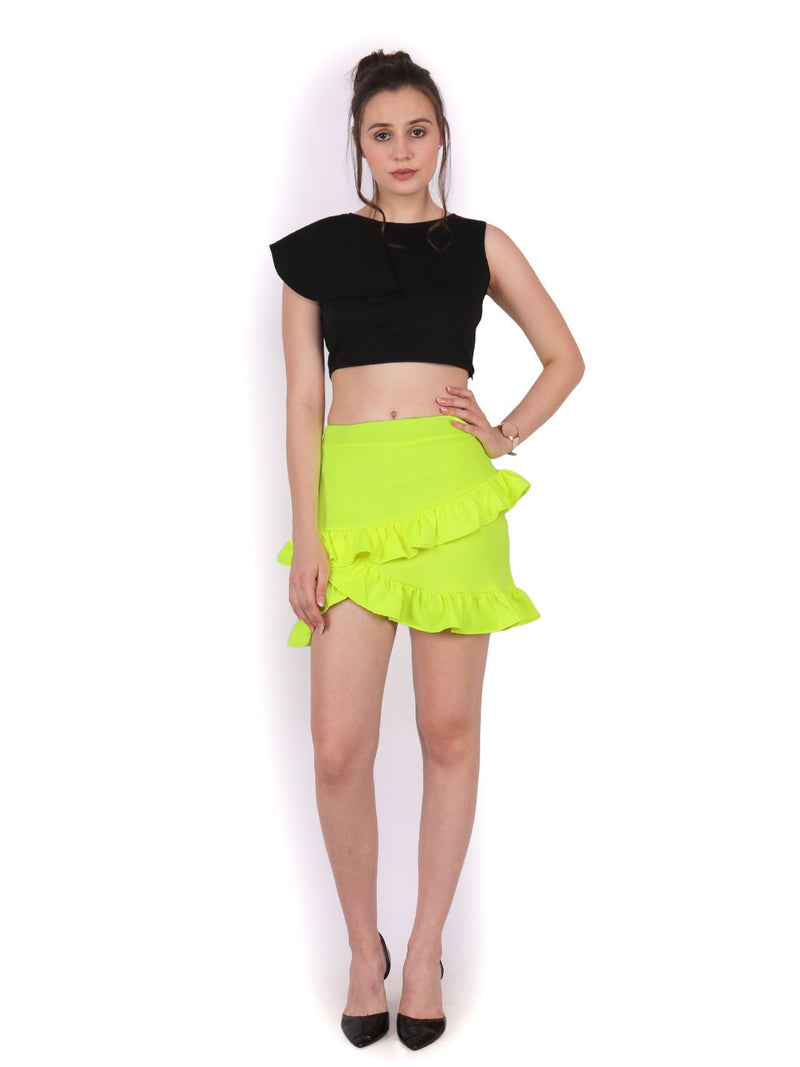 Green Solid Skirt