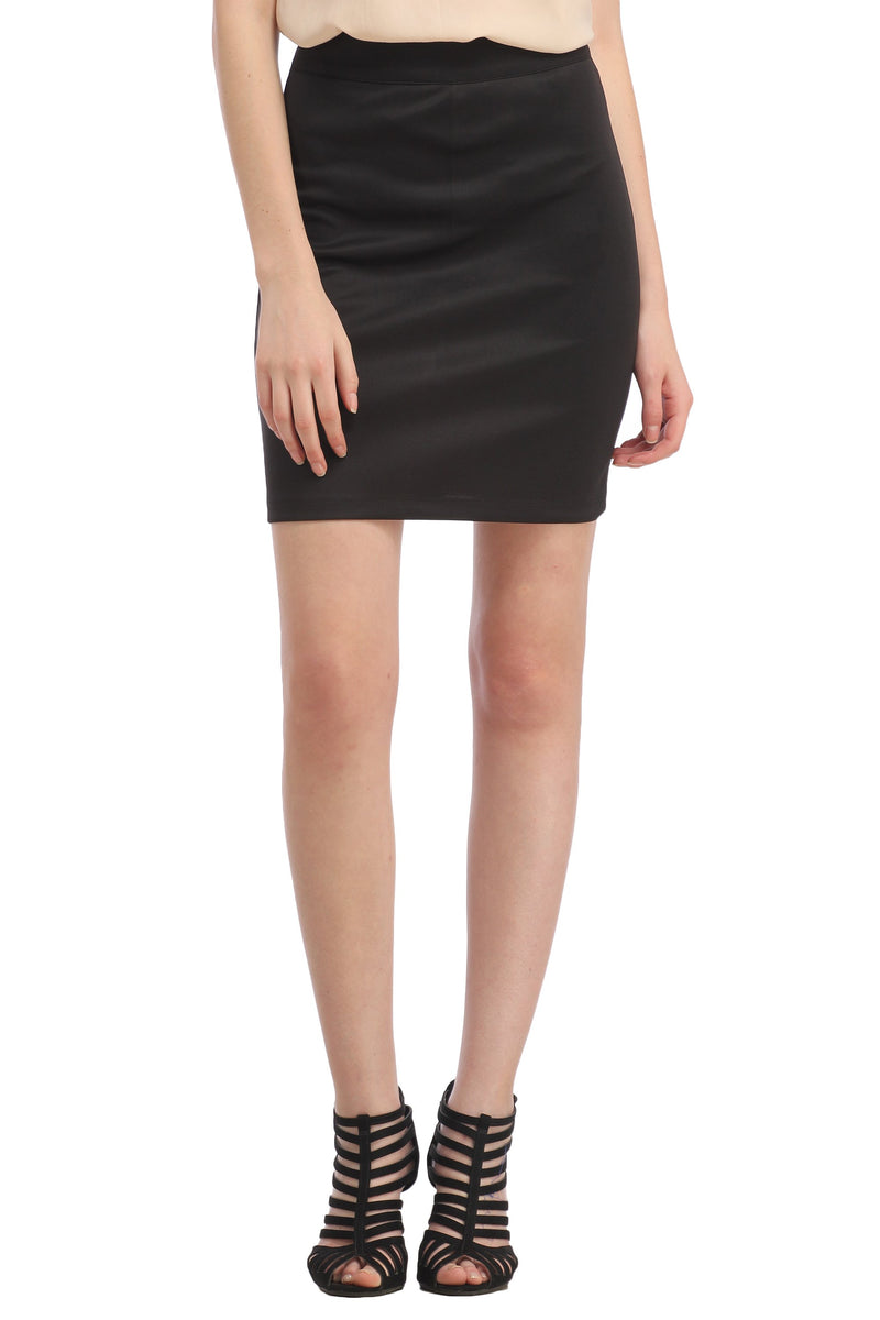 Black Solid Skirt