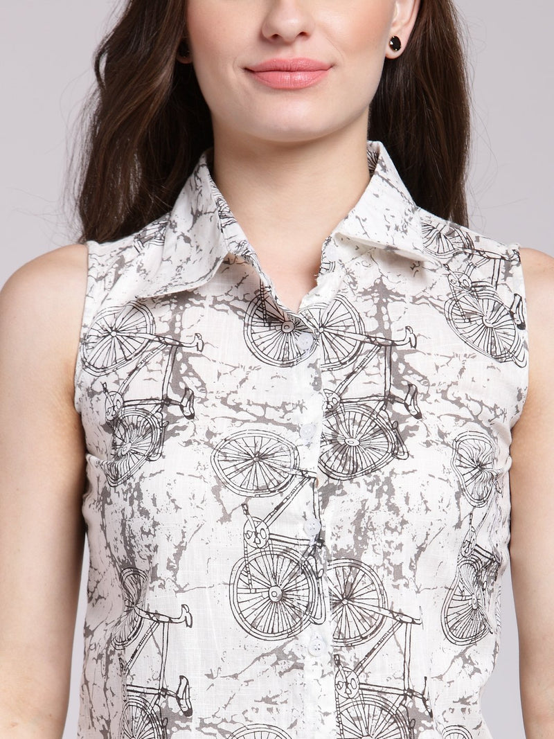 White Printed Shirt