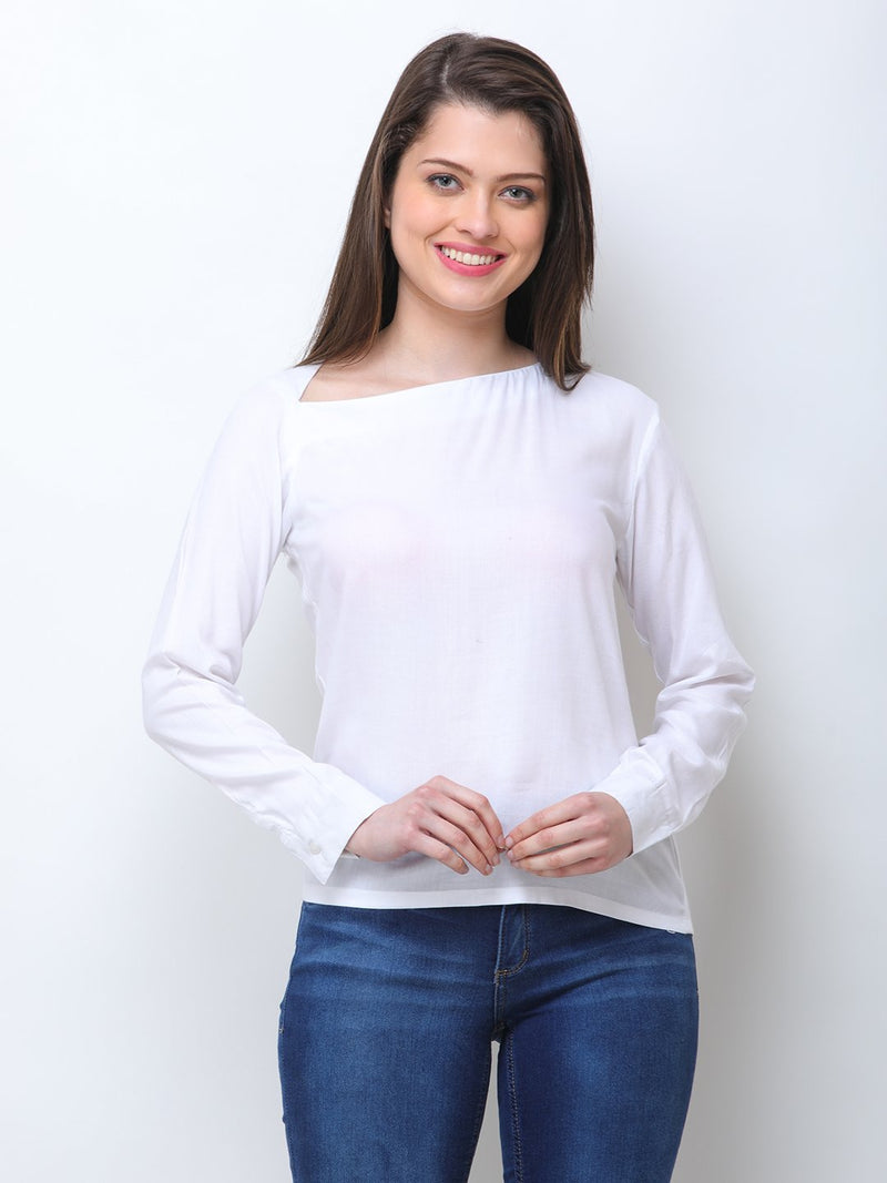 SCORPIUS WHITE RAYON STYLED NECK TOP