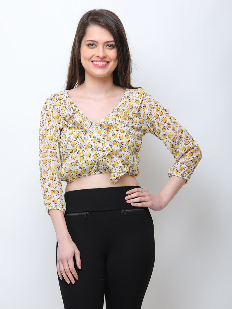 SCORPIUS PRINTED FRONT FRILL CROP TOP