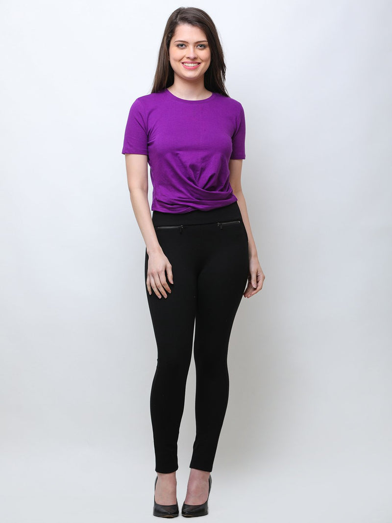 SCORPIUS PURPLE FRONT CROSS CROPTOP