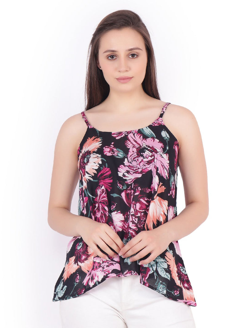 SCORPIUS Black printed strap top