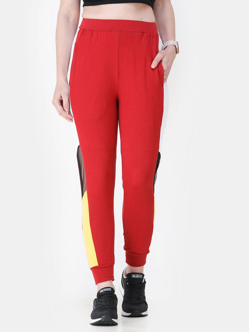 SCORPIUS RED SIDE STRAP TRACK PANT