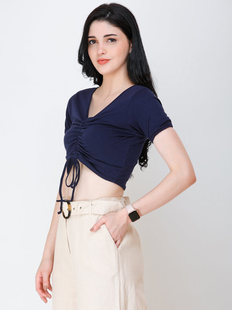 SCORPIUS Navy Blue styled front crop top