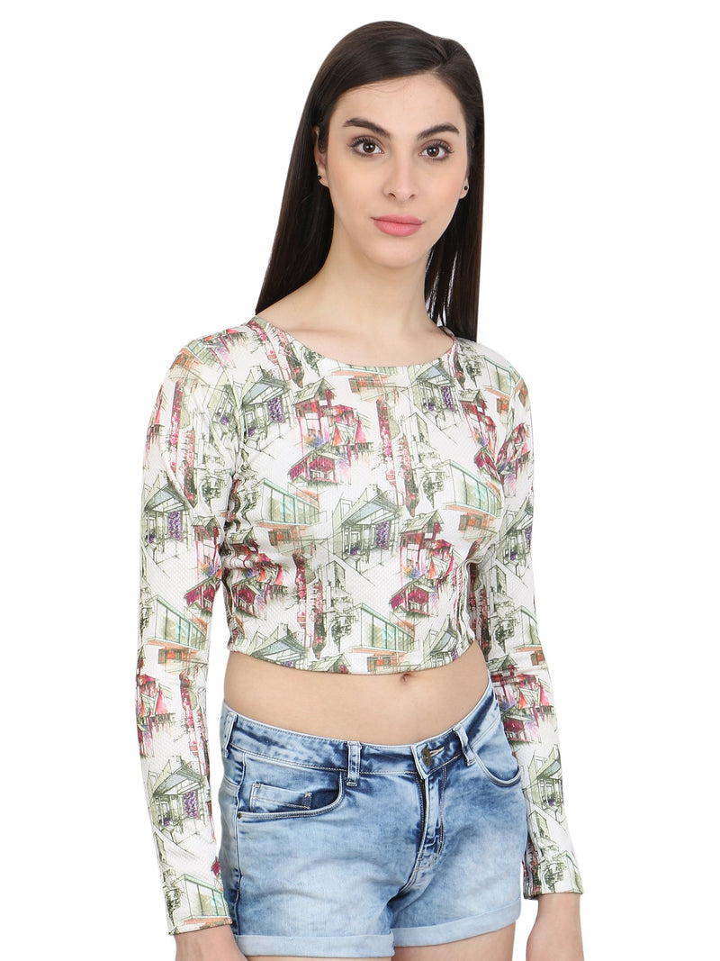 White Printed Crop Top
