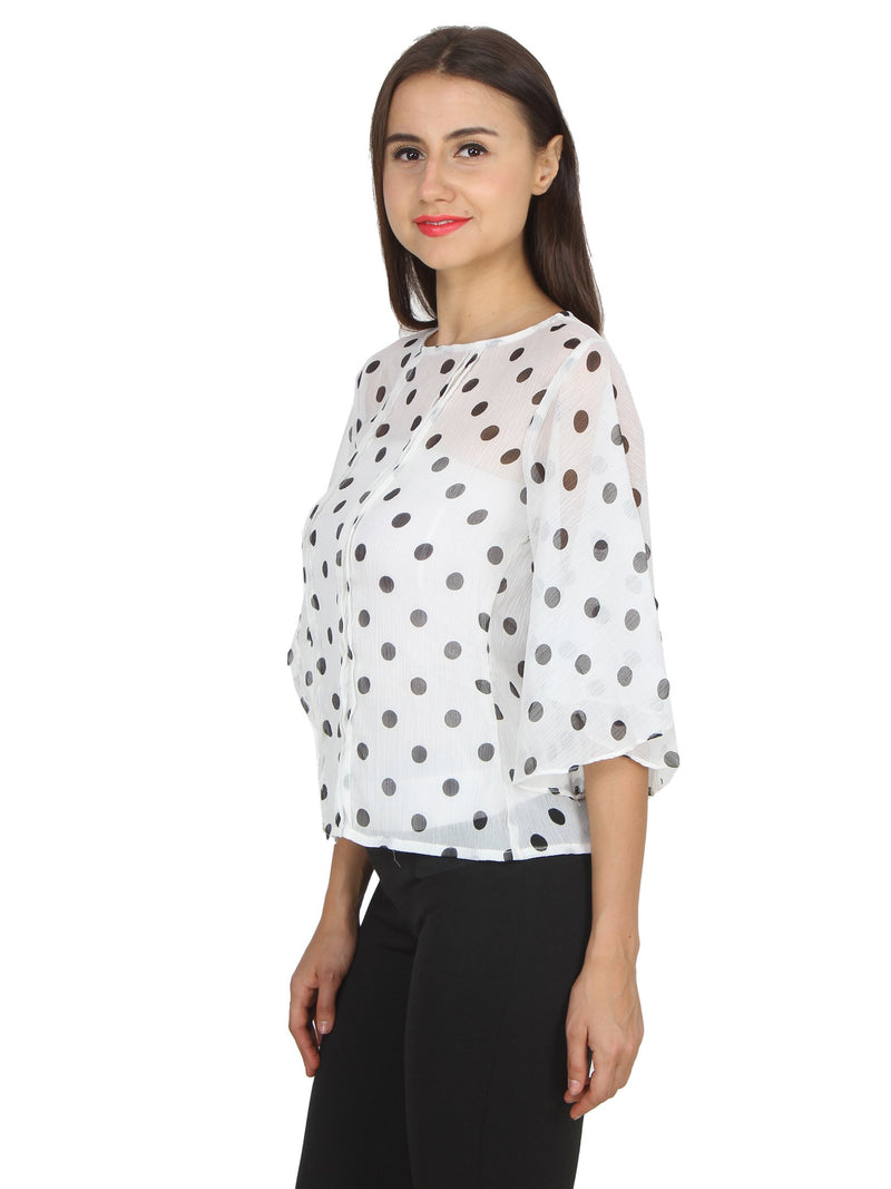White Printed Top