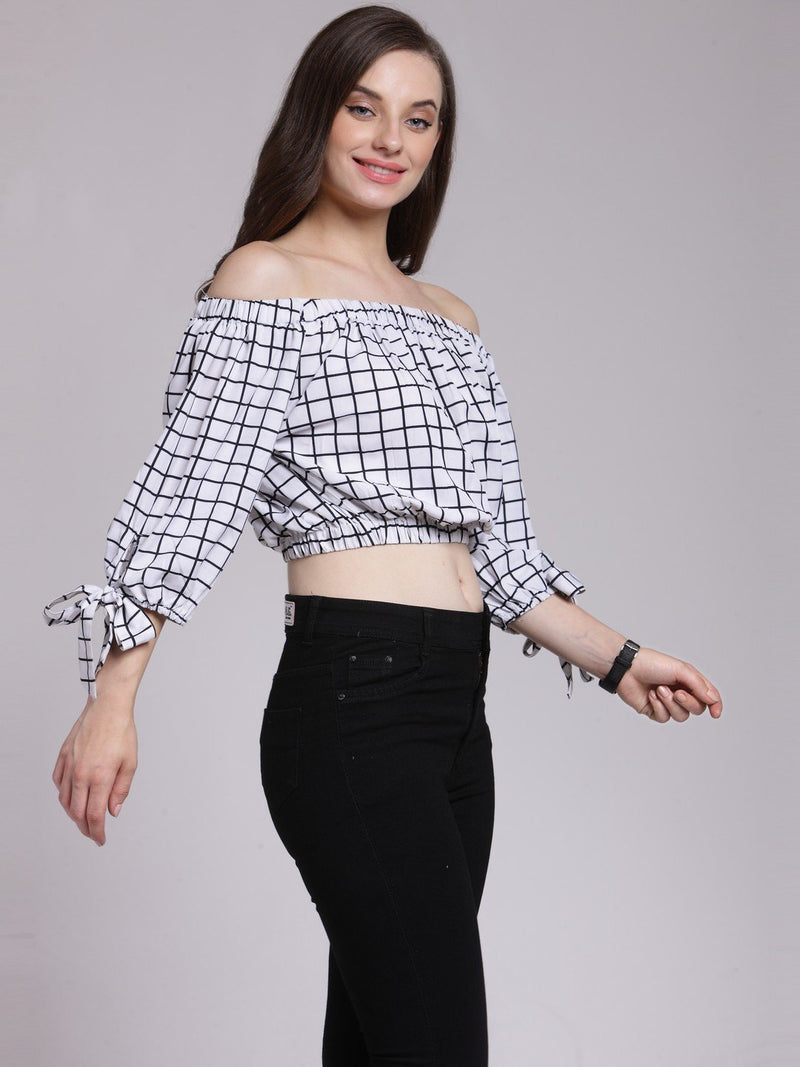 White Checkered Top