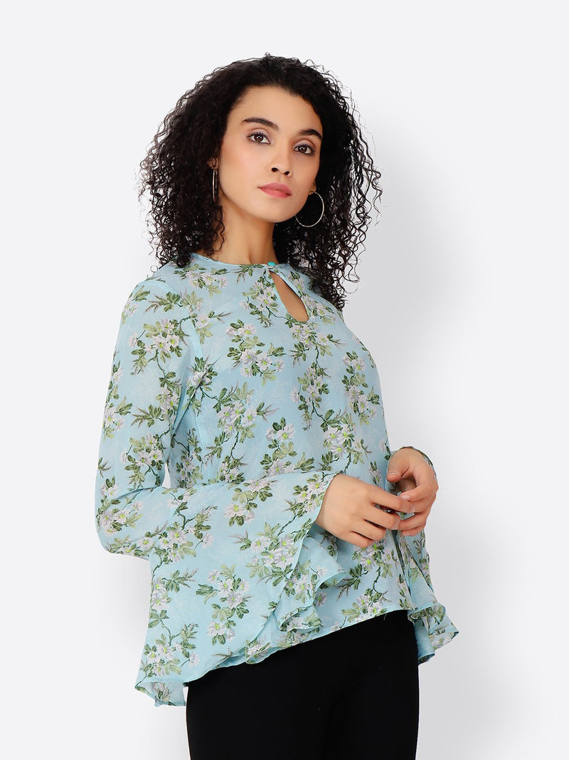 Cation Blue Printed Top