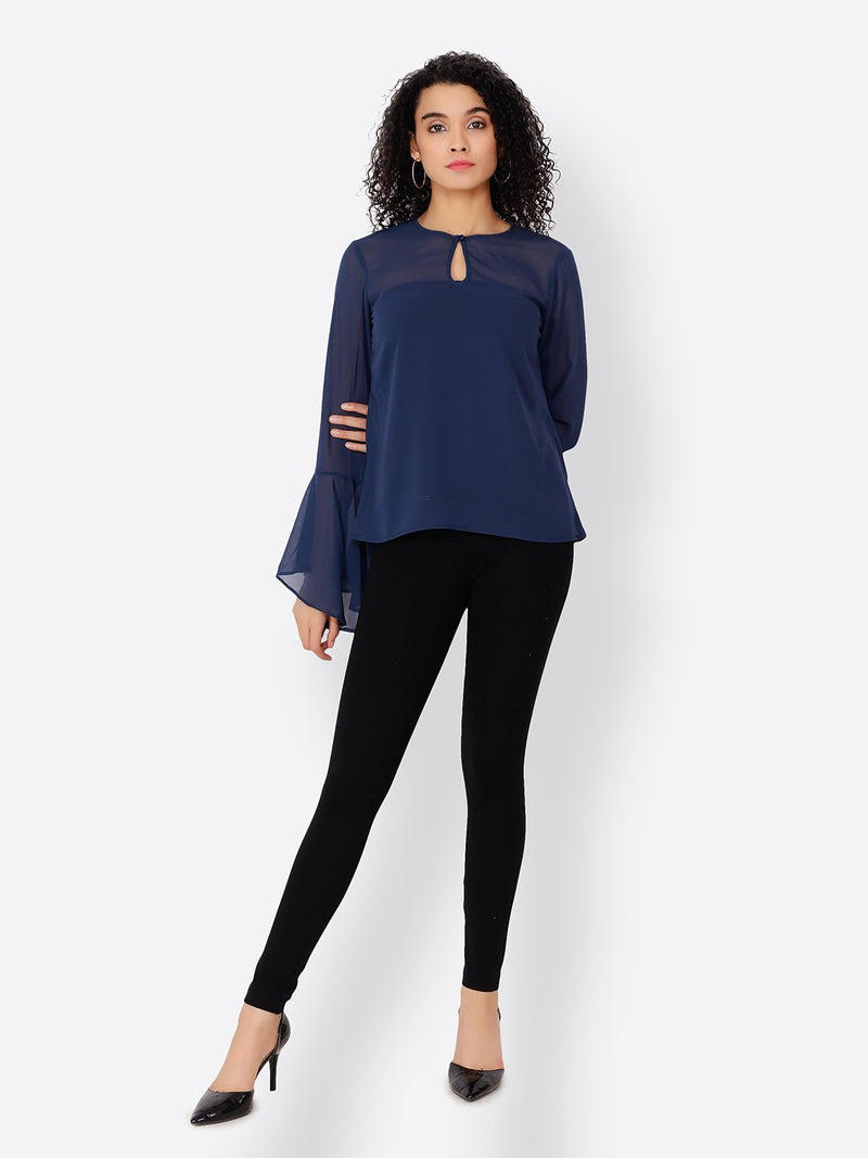 Cation Navy Blue Solid Top