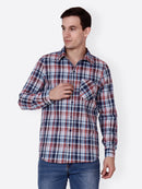 Cation Men Blue Checkered Shirt