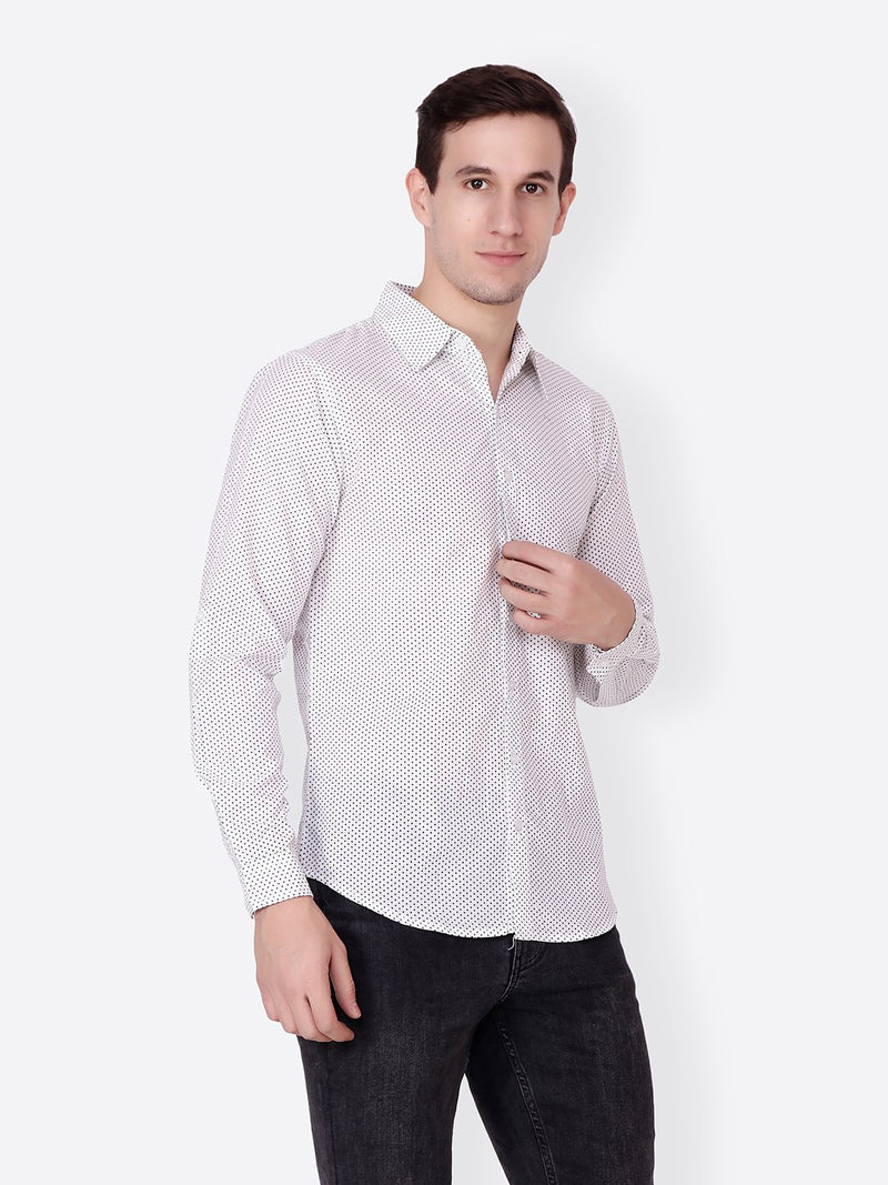 Cation Men White Polka dot Shirt