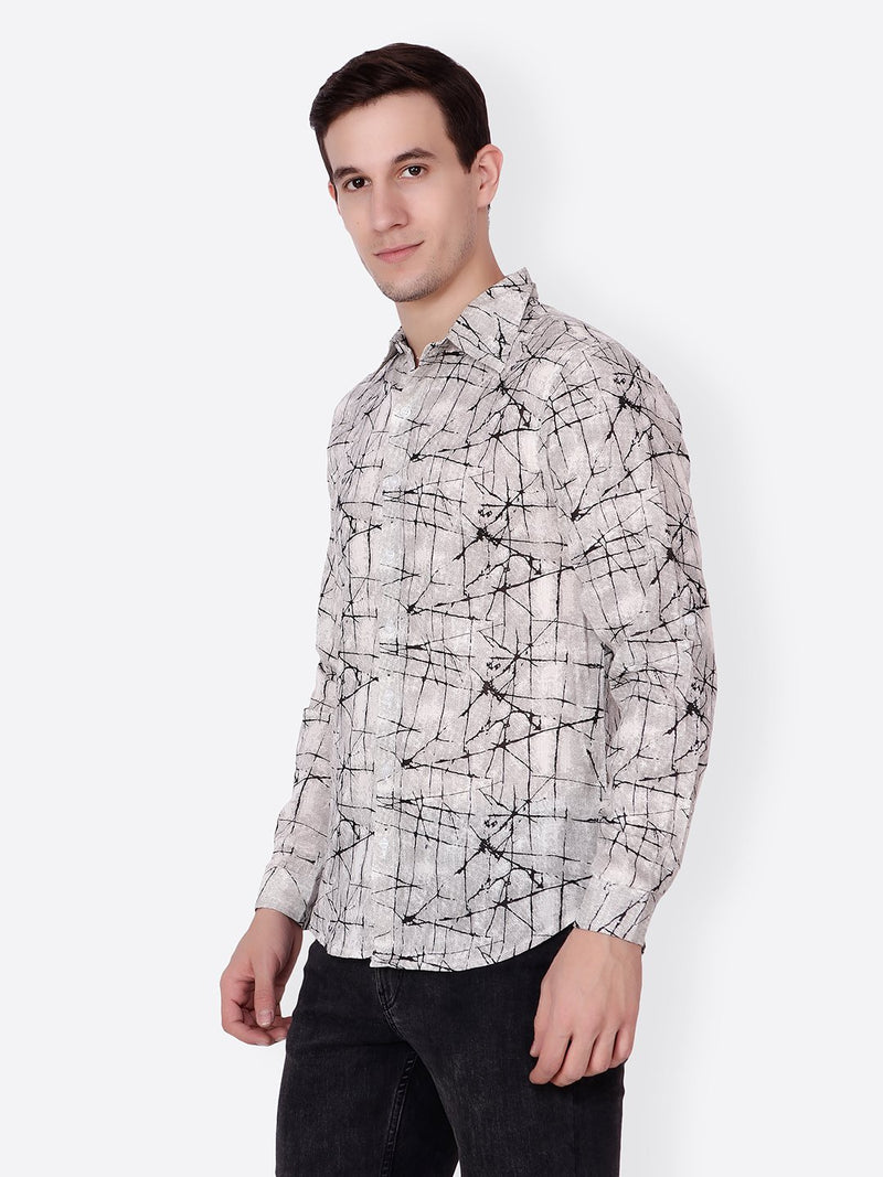 Cation Men White Printed Shirt