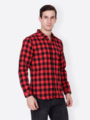 Cation Men Red Checkered Shirt