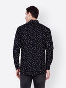 Cation Men Black Printed Shirt