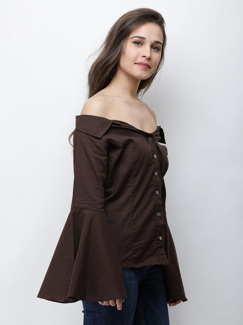 Cation Brown Solid Shirt