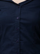 Cation Navy Blue Solid Shirt