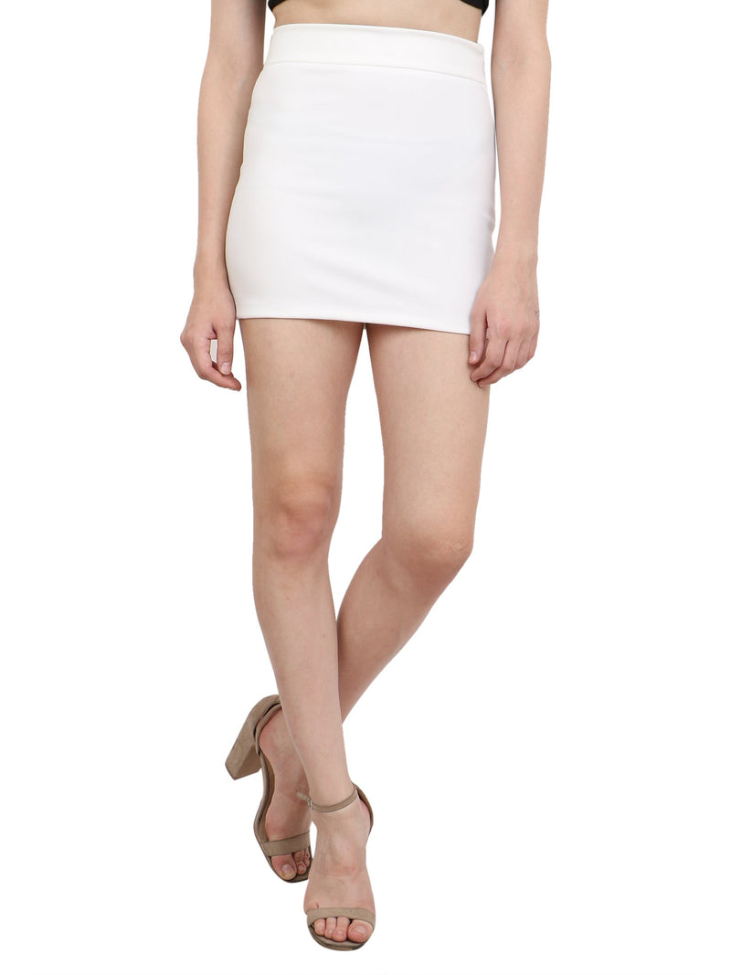 White Solid Skirt