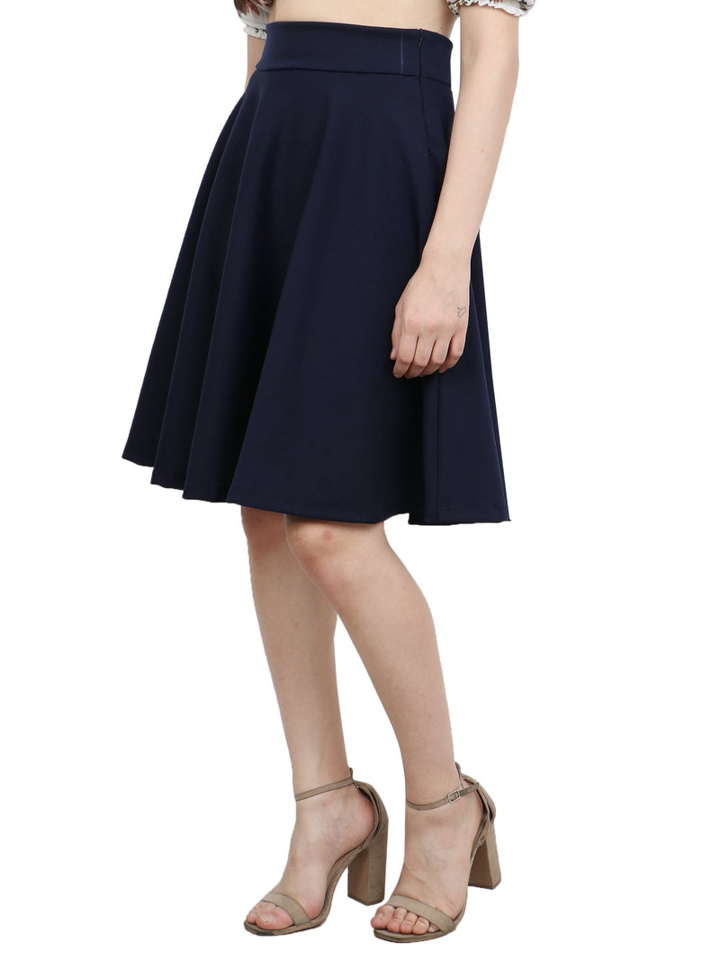 Navy Solid Skirt