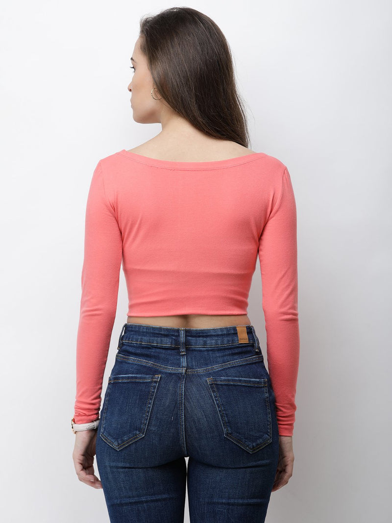 Coral solid crop top