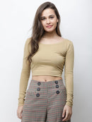 Golden solid crop top