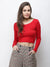 Red solid crop top