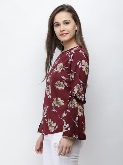 Maroon Printed Top