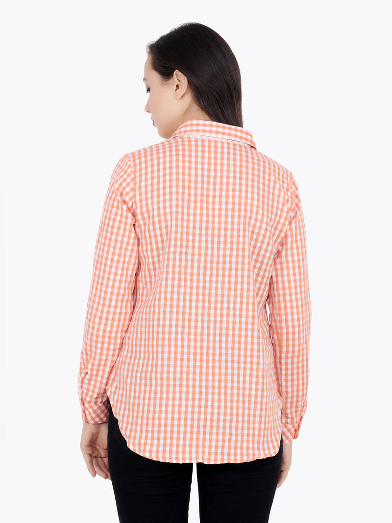 Orange Check Top