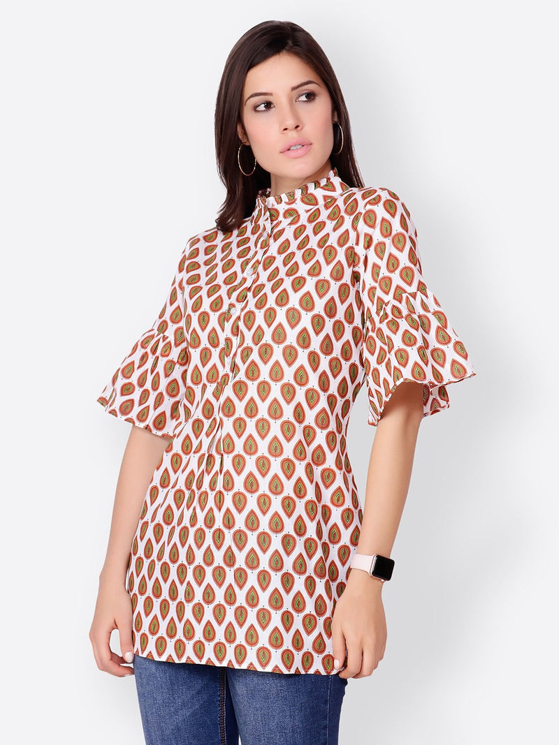Cation Off White Printed Tunic
