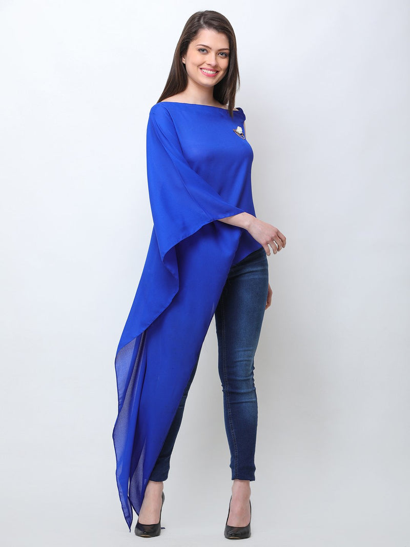 Blue One Shoulder Tunic
