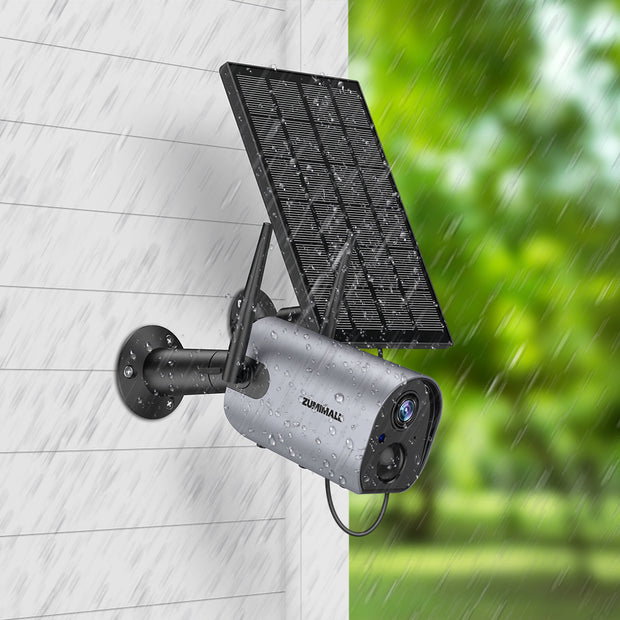 Zumimall Wireless Outdoor Security WiFi Camera, Solar Powered Rechargeable Battery Surveillance Camera, 1080P Home Security Camera, Night Vision, Two Way Audio, PIR Motion Detection, IP65 Waterproof