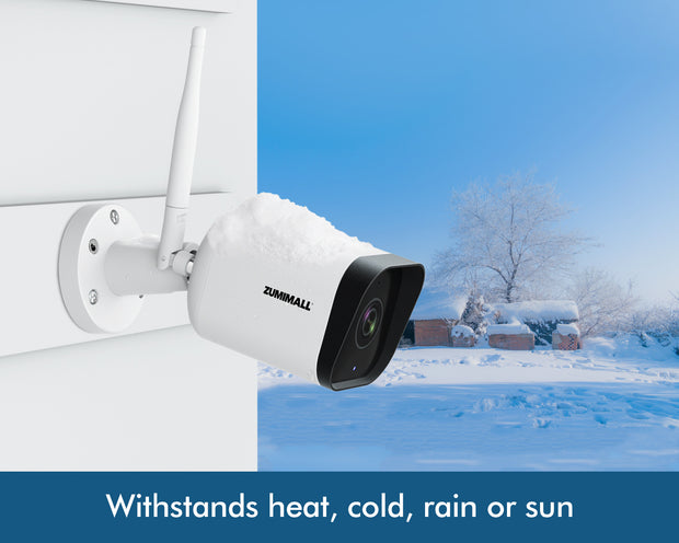 Security Camera Outdoor, 1080P WiFi Camera with Night Vision, Home Surveillance Camera, Instant Alert, 2-Way Audio IP Camera, Cloud Storage, IP65 Waterproof, Compatible with Alexa, White