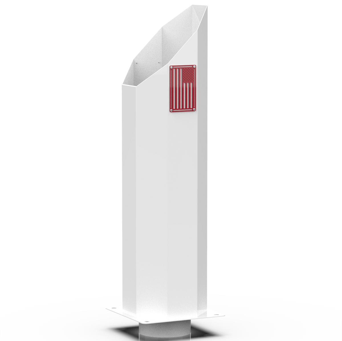 Custom Gloss White 4 Inch to 8 Inch Miter Octagon Exhaust Stack with Red American Flag Badge