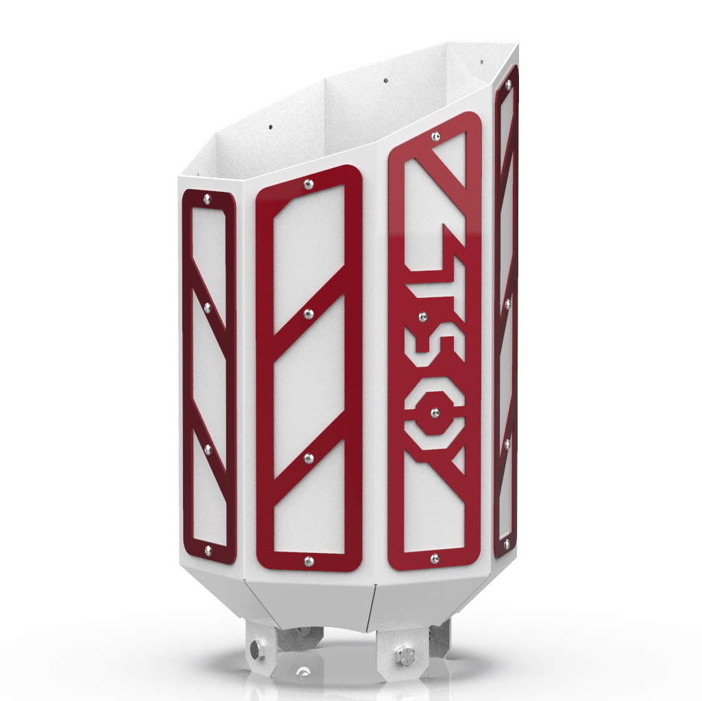 Custom Gloss White 5 Inch to 8 Inch Octagon Exhaust Tip with Red RC Overlays