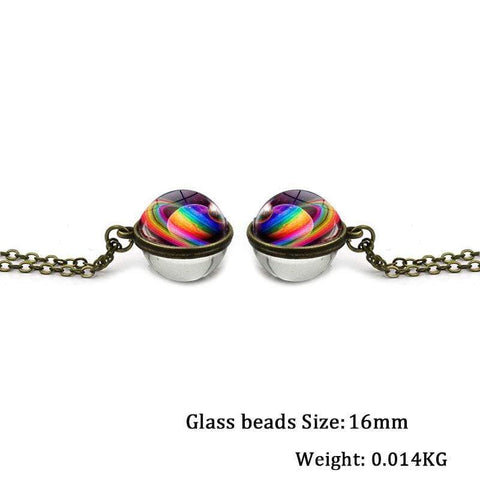 wow jewelry shop Universe Galaxy Double Sided Pendant Necklace