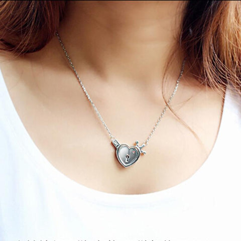 Wow Jewelry Shop Key and Heart Lock I love you Couple Necklace